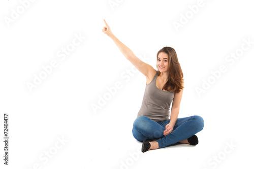canvas print picture Mädchen zeigt nach oben