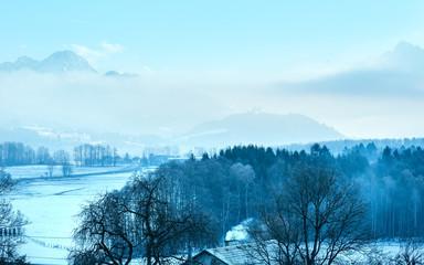 Winter morning mountain village (Austria).