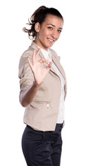 woman showing perfect sign