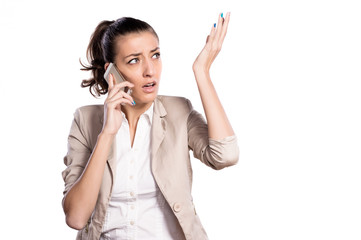 attractive woman speaking on smart phone