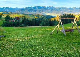 Summer morning mountain village view (Poland)