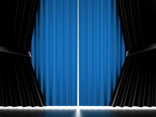 Blue curtain cloth