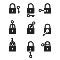 Lock and Key - set of black and white icons