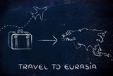 travel industry: airplane and luggage going to Eurasia poster