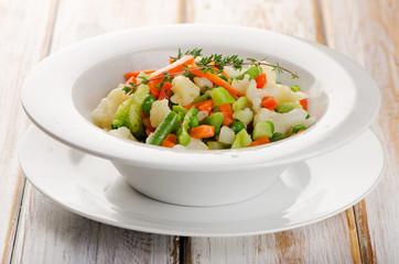 Boiled Vegetables in  white  bowl