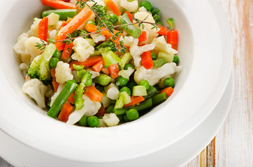 Boiled Vegetables in a white  bowl