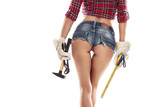 Nice sexy woman mechanic showing  bum buttock  and holding hamme
