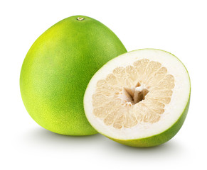 Green pomelo citrus fruit with cut isolated on white