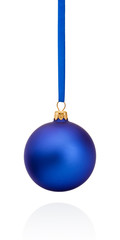 Blue Christmas ball hanging on ribbon Isolated on white backgrou