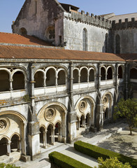 Cloister and church of the Alcobaça Monastery.