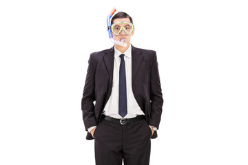 Businessman with a diving mask