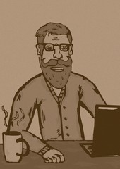Hipster at work vintage