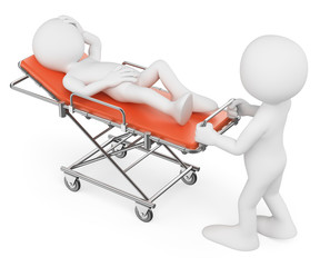 3D white people. Nurse carrying a patient on a stretcher