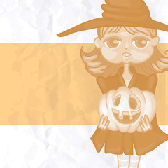 Witch Girl With Pumpkins