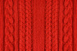 Knitted woolen background, red texture - 72410054