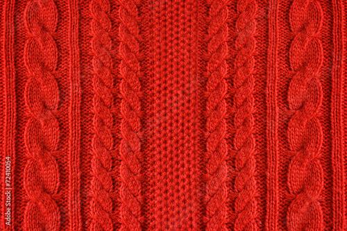Leinwandbild Motiv Knitted woolen background, red texture