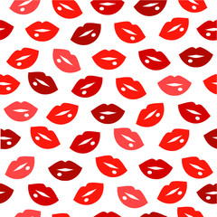 Cute fun red lips kiss seamless pattern