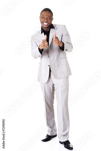 Leinwandbild Motiv Cheering black man