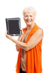 Senior woman holding a tablet