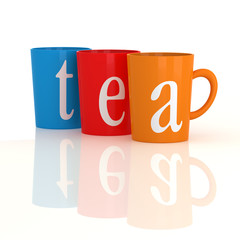 Colourful Tea mugs on white with reflection.