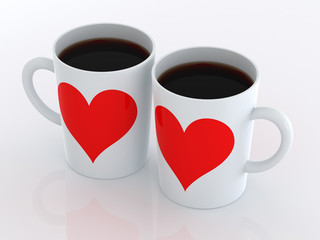 Heart on two mugs of coffee. Isolated on a white background.