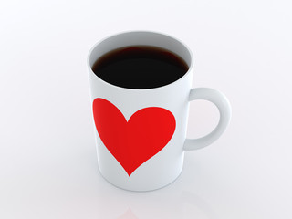 Heart on mugs of coffee. Isolated on a white background.