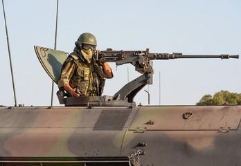 Tank Machine Gunner on Nato Military Training Exercises in Spain
