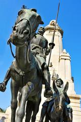 monument to Miguel de Cervantes in Plaza de Espana in Madrid, Sp