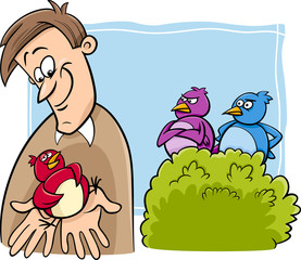 bird in the hand cartoon