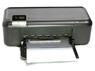 The inkjet printer with paper