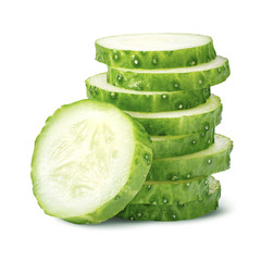 Pile of cucumber slices isolated on white