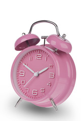 Pink alarm clock with the hands at 10 and 2