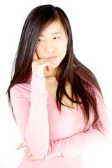 Doubtful asian woman isolated