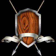 Wooden shield with steel riveted border and spears