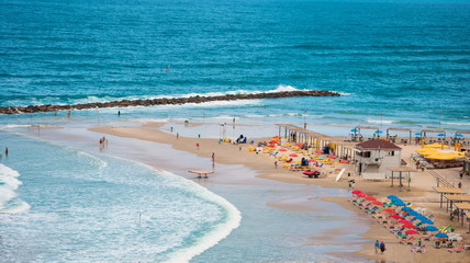 beach on  Mediterranean Sea on  coast of Israel