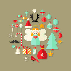 Christmas Flat Icons Cute Set Over Light Brown