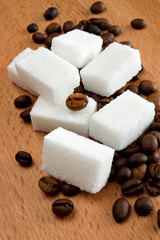 Cube sugar and coffee