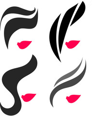 Woman hair and red lips icon set
