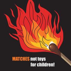 Burning match. Vector illustration.