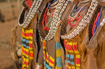 Close up of Hamer tribe women's dresses