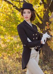 beautiful girl jockey posing