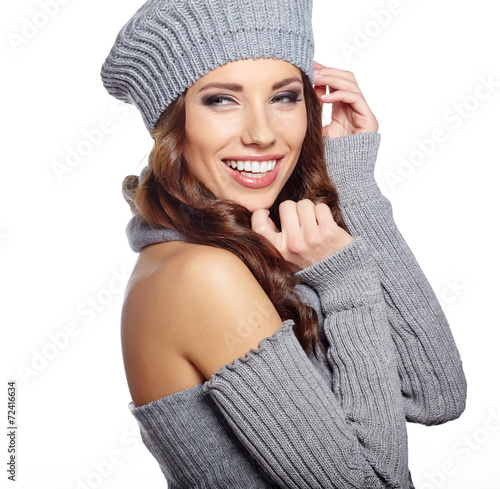 canvas print picture Beautiful winter woman