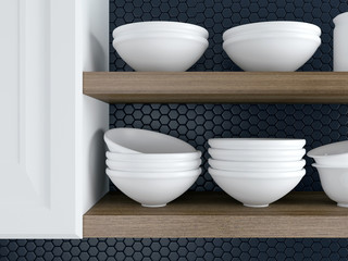 Kitchenware on the shelves.