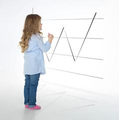 blond girl studying chart
