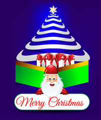 Vector illustration of Christmas background with santa claus