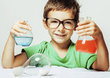 Fototapety little cute boy with medicine glass isolated