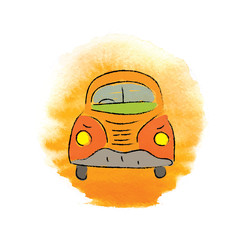 car, hand-drawn vector illustration