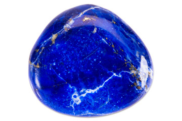 Precious gem on white background, lapis lazuli