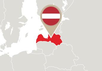 Latvia on Europe map
