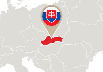 Slovakia on Europe map
